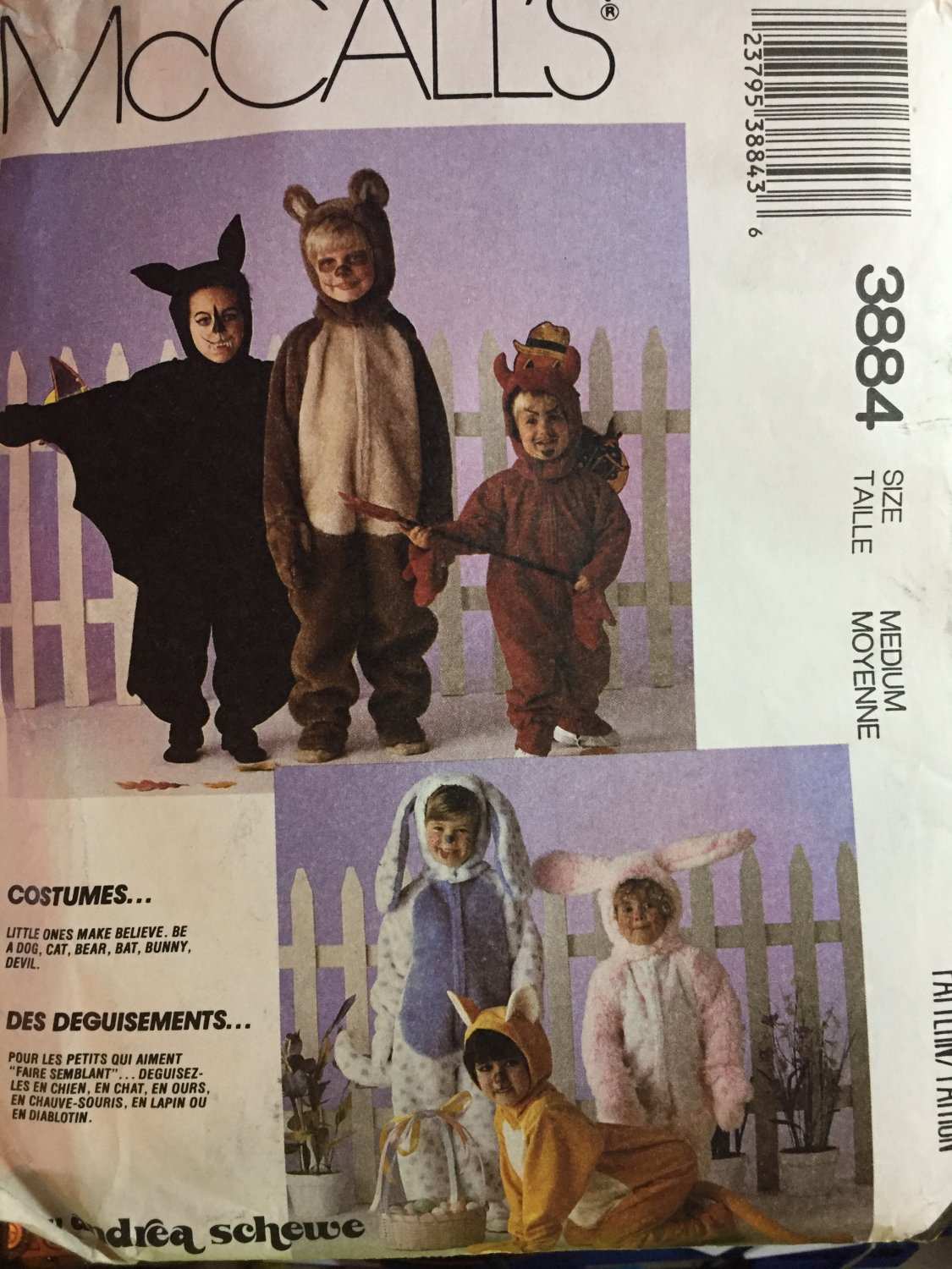 McCalls 3884 Bear Bunny Dog Cat Bat Devil Costume Pattern Size 5,6 Halloween Costume Pattern