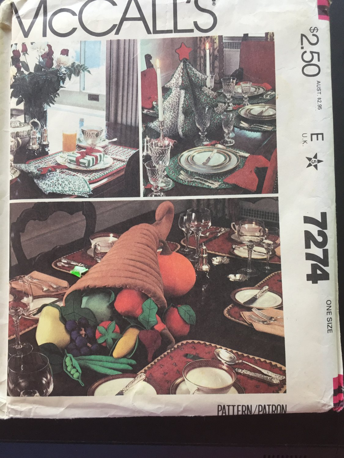 McCall's Holiday Table Settings Pattern No.7274, One Size, Uncut