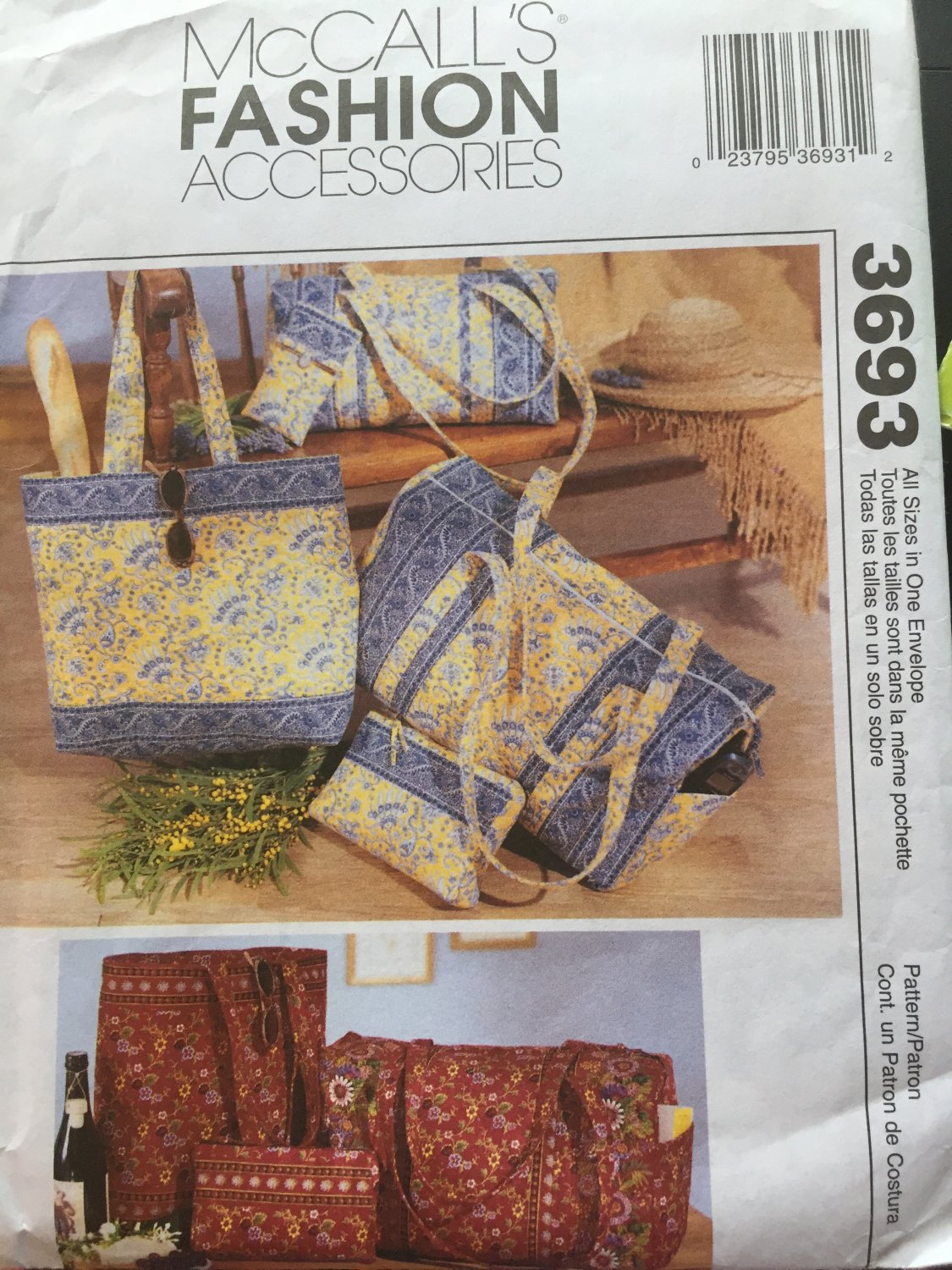 McCall's 3693 Accessories Pattern Duffel, Tote Bag Sewing Pattern