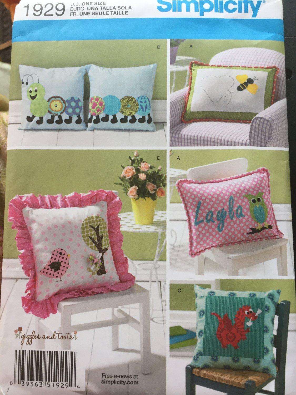 Simplicity Pattern 1929 Children's Applique Pillows caterpiller dragon owl bee