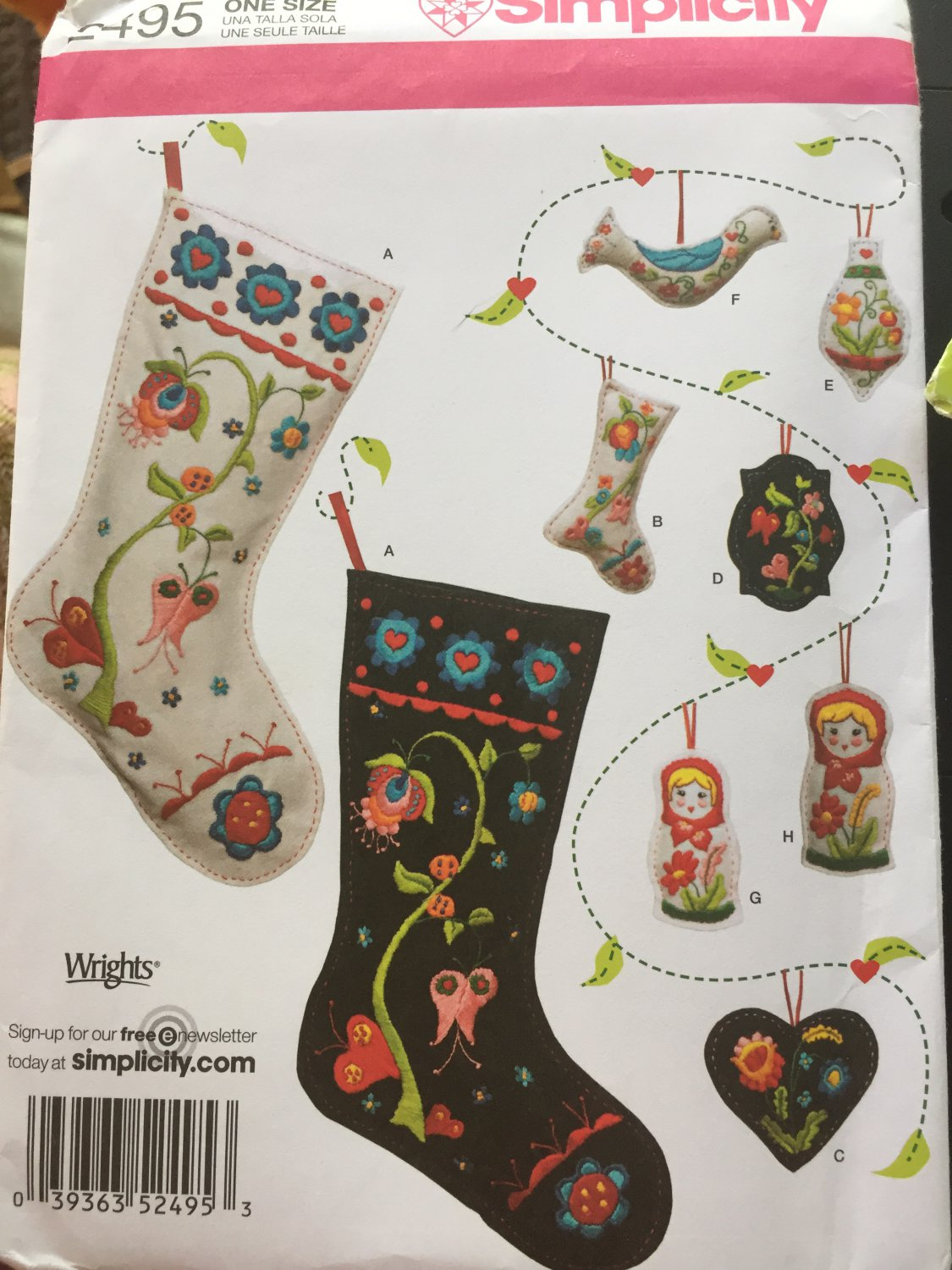 Christmas Decorations Stocking Ornament Embroidery SIMPLICITY SEWING PATTERN 2495