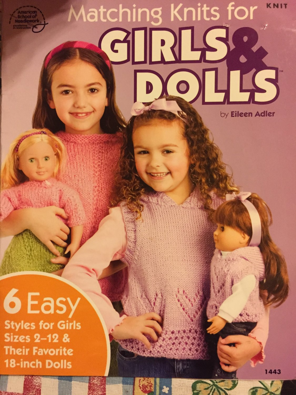 Matching Knits for Girls & Dolls American School of Needlework 1443 Knitting Pattern