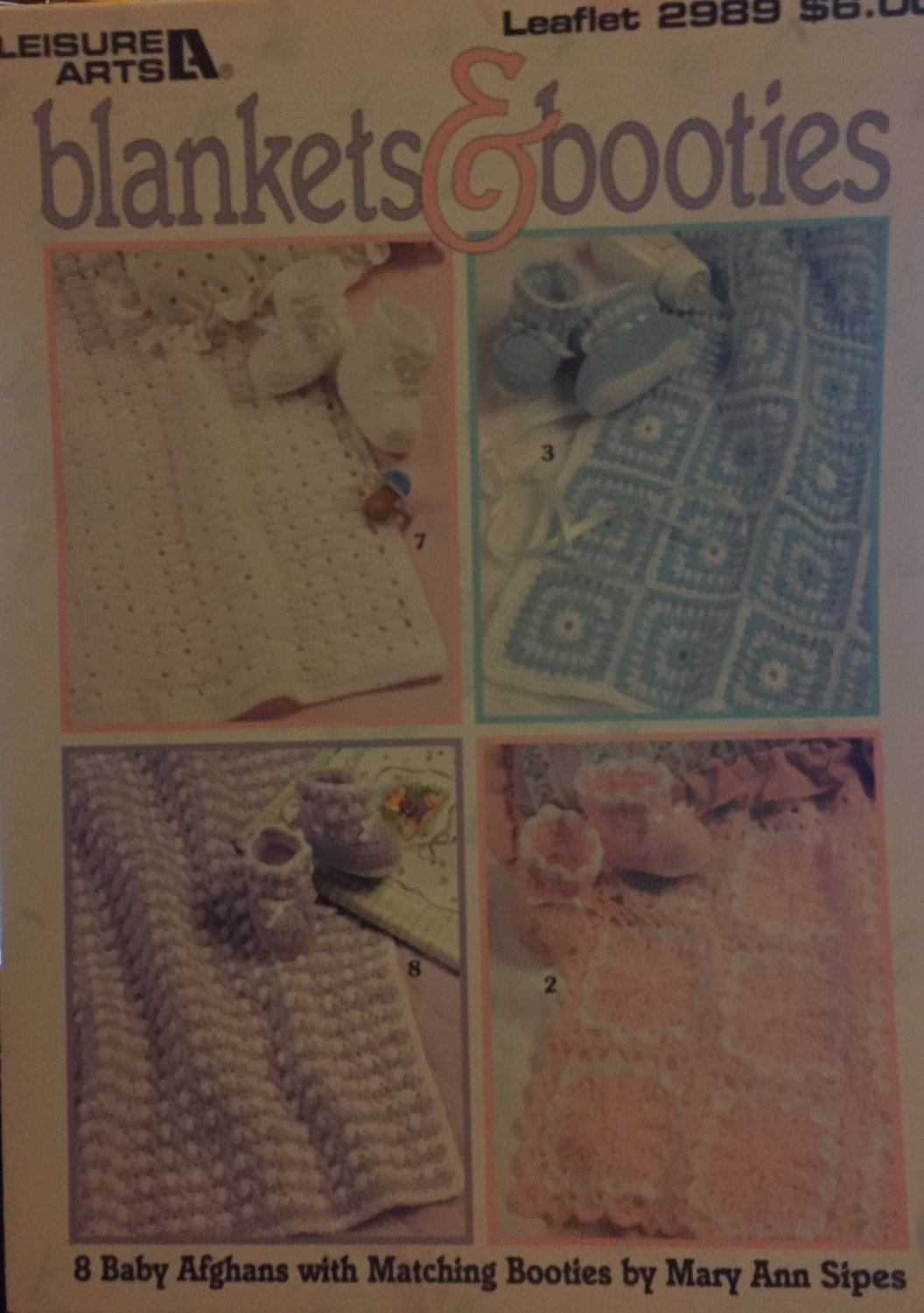 LEISURE ARTS LEAFLET 2989 BLANKETS & BOOTIES MATCHING SETS AFGHANS Crochet Pattern