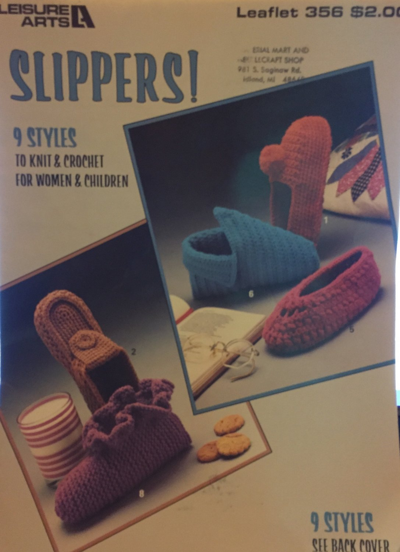 Slippers: 9 Styles to Knit & Crochet Leisure Arts Pattern Leaflet #356