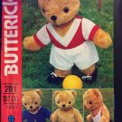 Butterick Craft 201 4531 Sewing Pattern Stuffed Bear with Sports Wardrobe