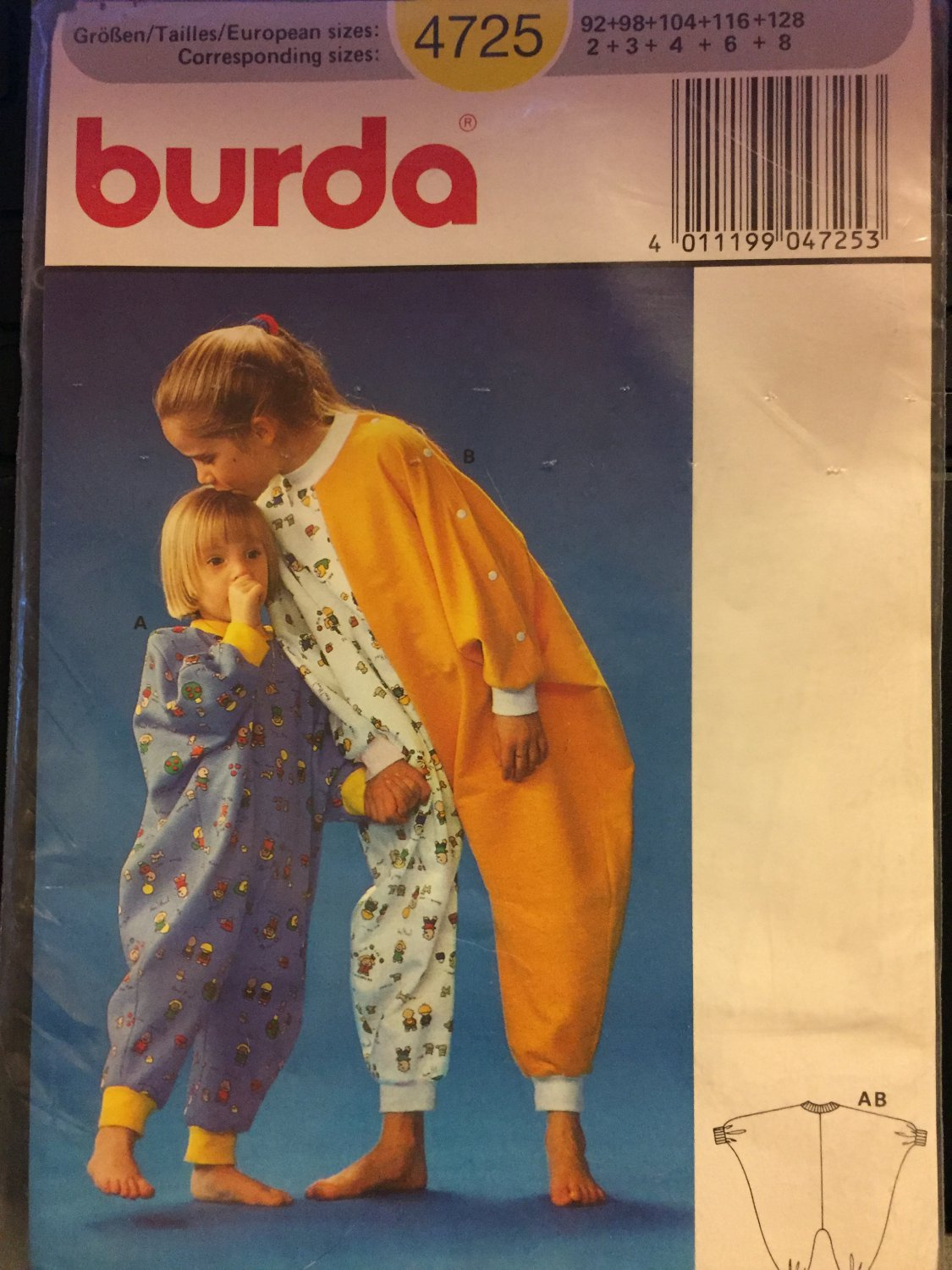 Burda 4725, Infants' Toddlers' Childs' Jumpsuit Sewing Pattern sizes 2 - 8