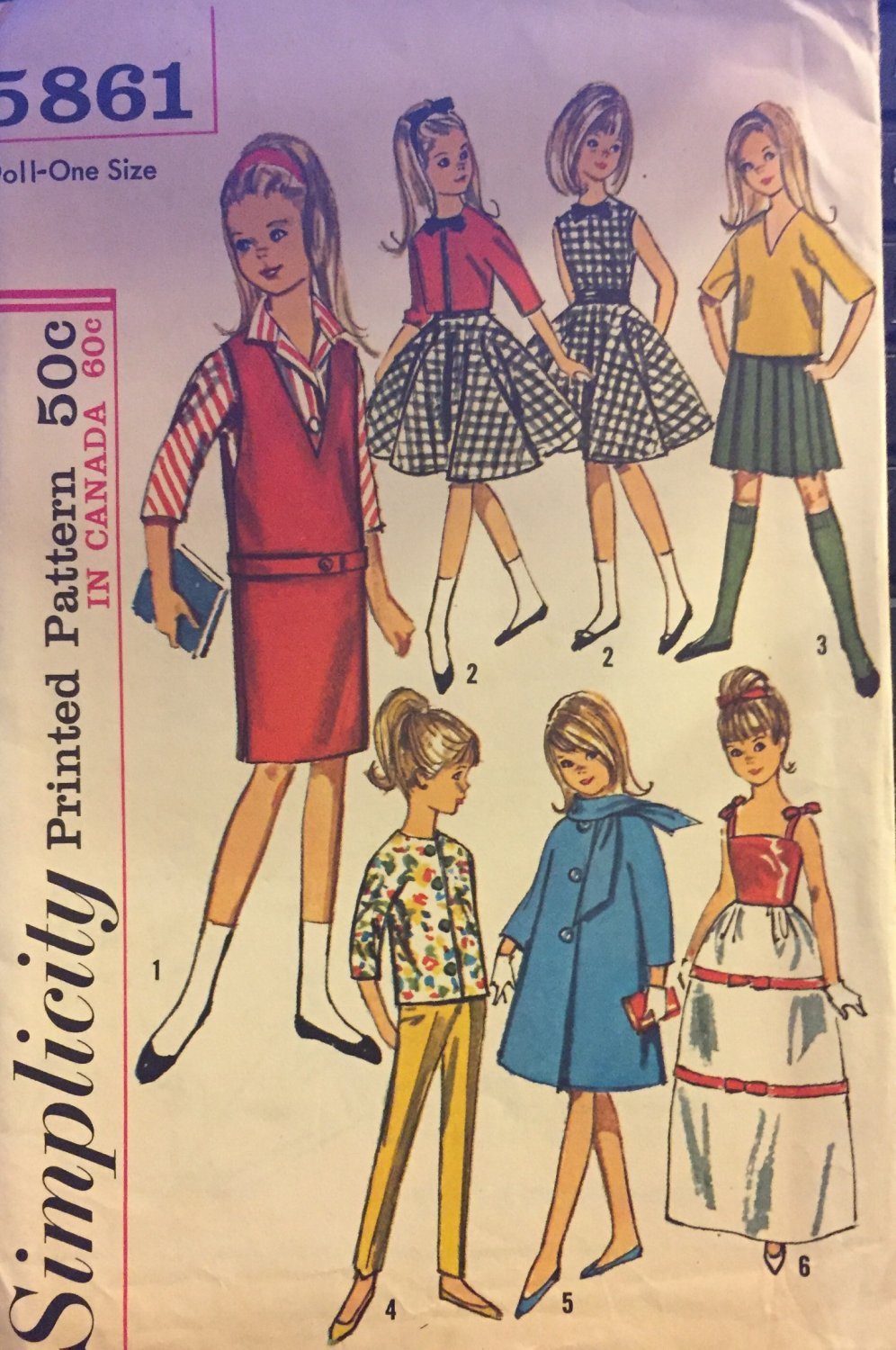 "Simplicity 5861 Wardrobe for 9"" Little Girl Dolls Such as Skipper: UNCUT PATTERN"