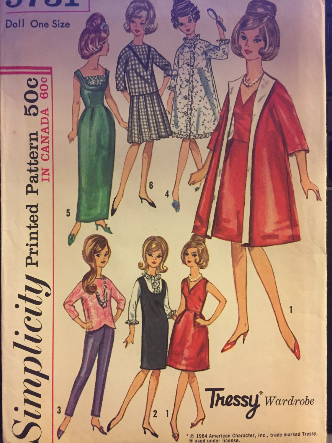 "Simplicity 5731 Vintage Clothing Pattern for Tressy Wardrobe 11 1/2"" Fashion Doll"