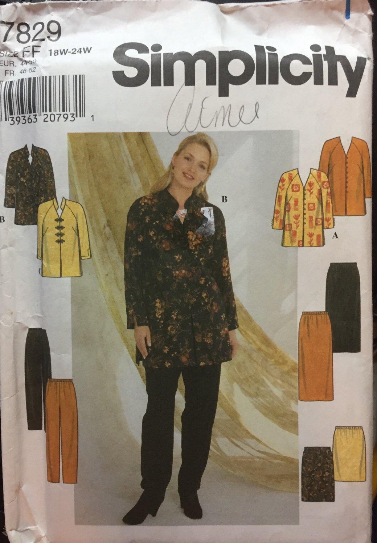 Simplicity sewing pattern 7829 women misses pants tunic skirt jacket Uncut size 18-24
