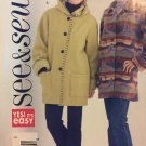 See & Sew Butterick B4331 Jacket Coat with turn back cuffs UNCUT sewing pattern SZ 18-20-22