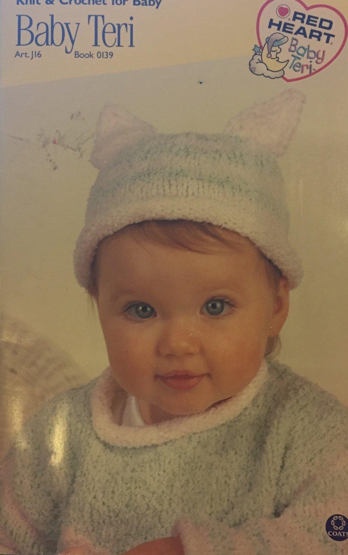 Baby kitten hat, sweaters, bunting Coats Clarks Red Heart Baby Teri 0139