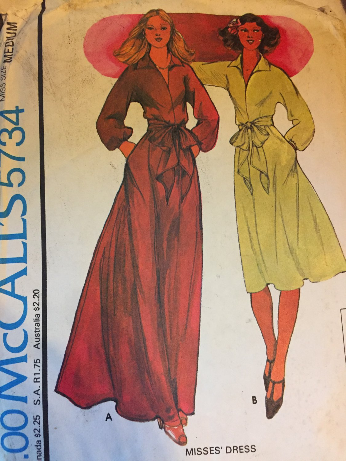 SOLD OUT! McCalls 5734 Sewing Pattern Halston Designer Women's Maxi Dress 1970's Size 14-16