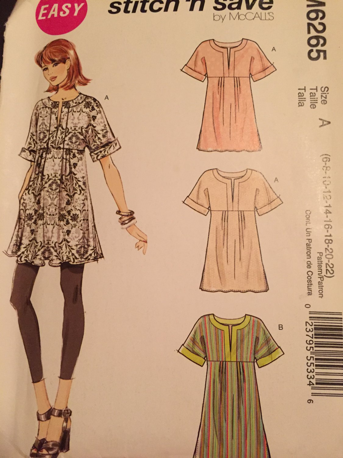 Tunic Top Sewing Pattern McCalls M6265 Sizes 6 to 22