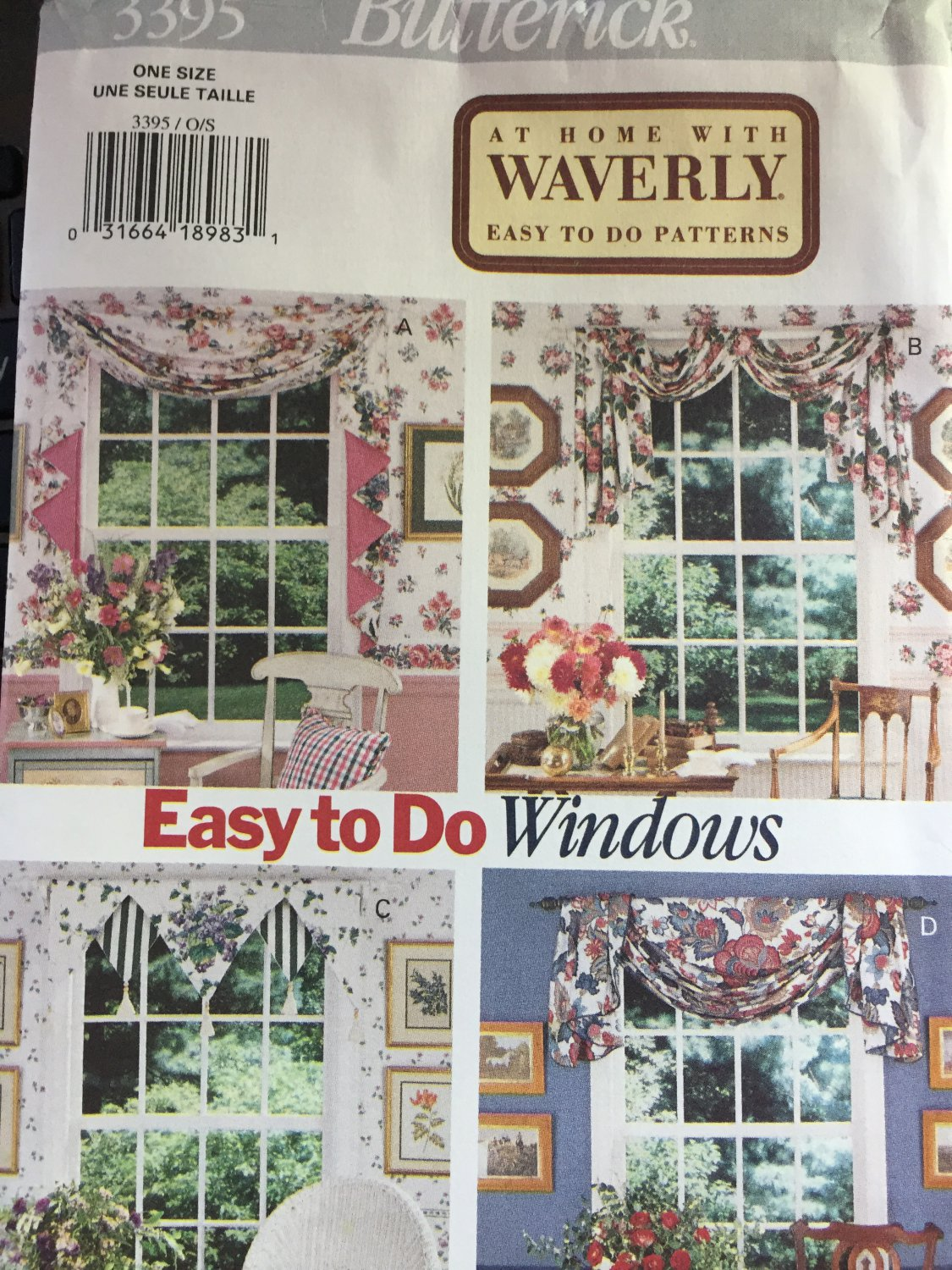 Valances Window treatments Sewing pattern Butterick 3395 Window Scarves