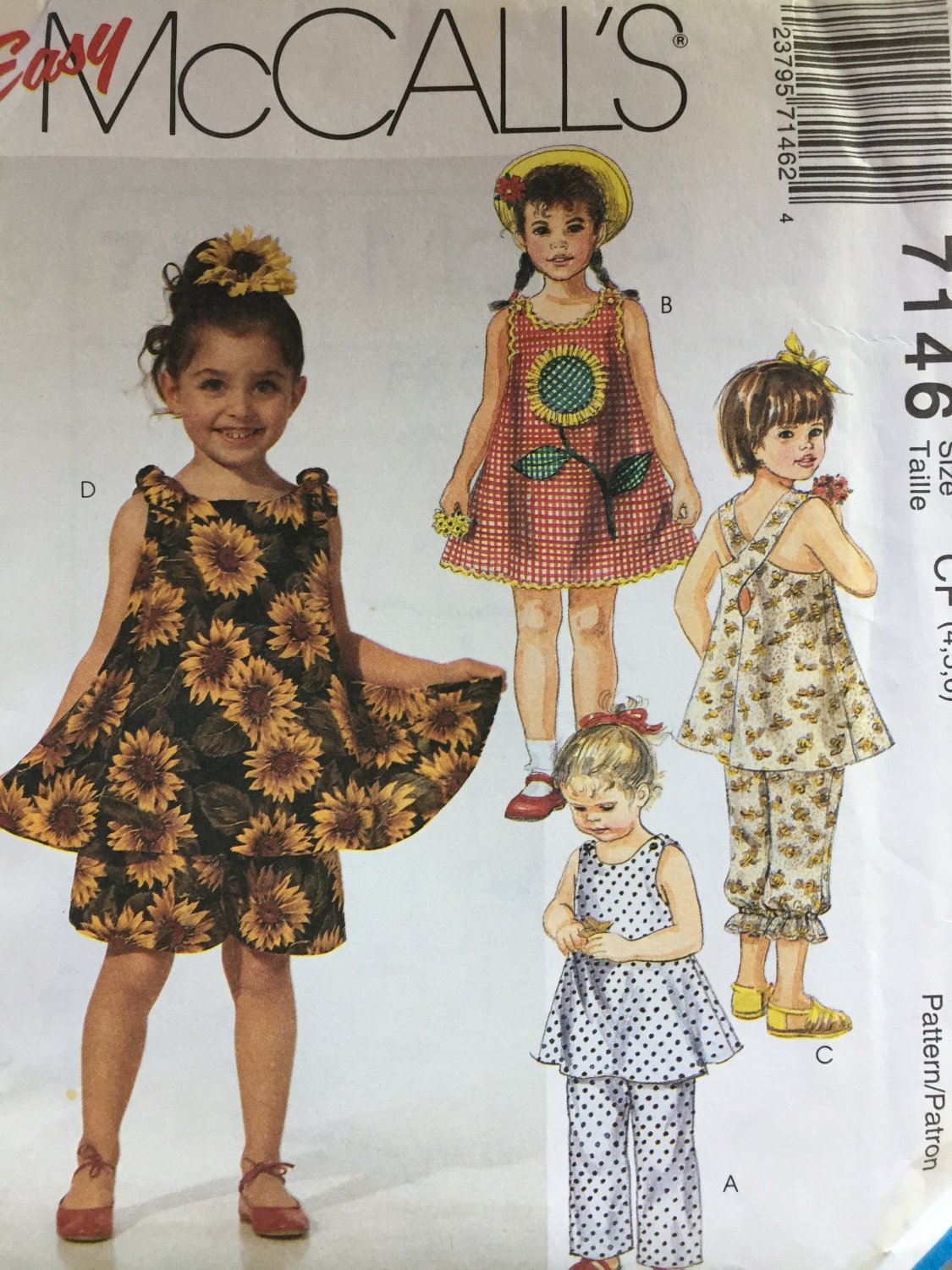 McCall's 7146 Children's Dress Tops Pull-On Pants in Two Lengths Shorts Sewing Pattern Size 4 5 6