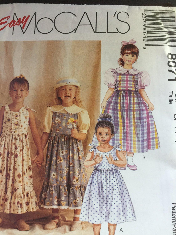 Easy Summer dress Girls Sewing Pattern, Blouse, Jumper or Sundress, Child size 4 5 6 McCalls 8071