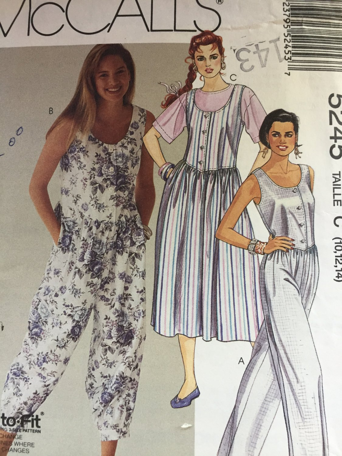 McCall's 5245  Misses Jumpsuits and Jumper Sizes 10 12 14 Sewing Pattern