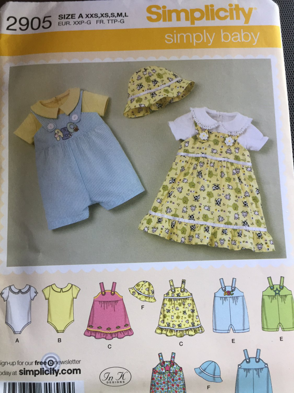 Simplicity 2905  Baby Bodysuit Jon Jon Romper Button Strap Dress Bucket Hat Size NB 3 6 9 12 18 Mos