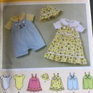 Simplicity 2905  Baby Bodysuit Jon Jon Romper Button Strap Dress Bucket Hat Size NB 3 6 9 12 18 Mos
