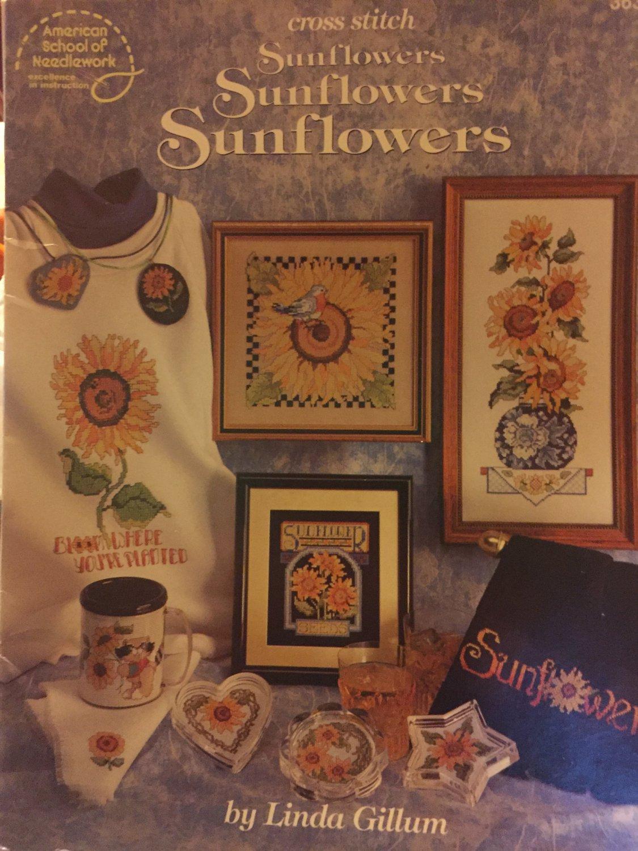 Sunflowers Sunflowers Sunflower Cross Stitch charts School of Needlework 3630