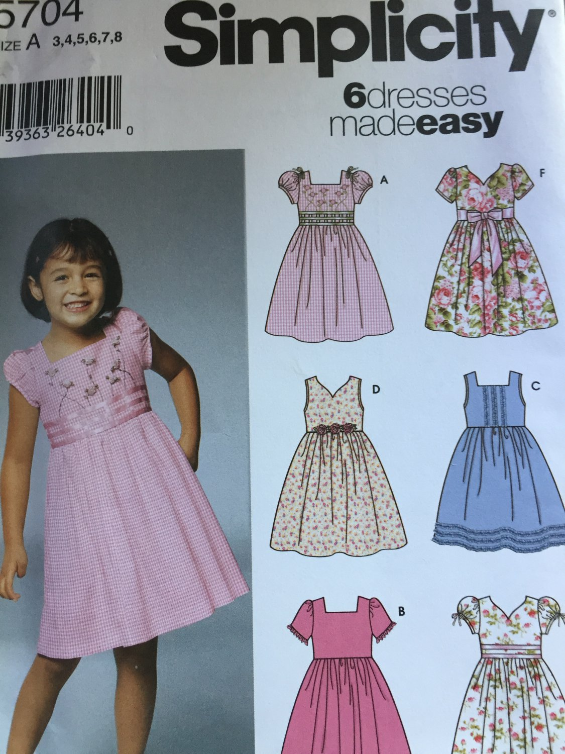 Simplicity 5704 Child's Dress with Bodice and Sleeve Variations Pattern Size 3-8 Party Dress