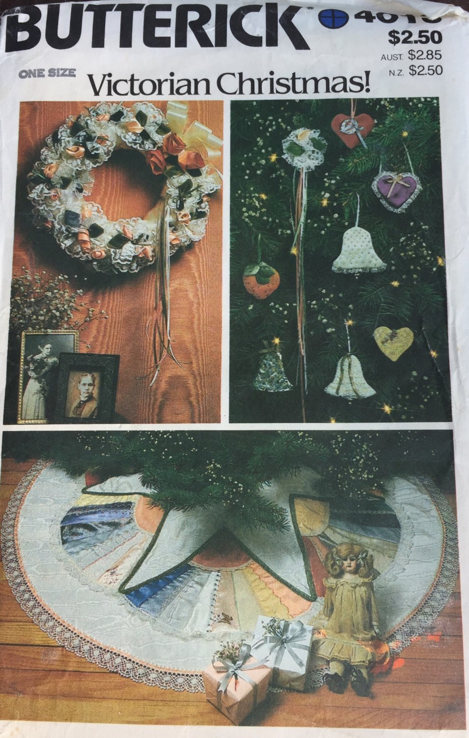 Victorian Christmas Holiday Tree Skirt Ornaments Butterick 4013 Sewing Pattern