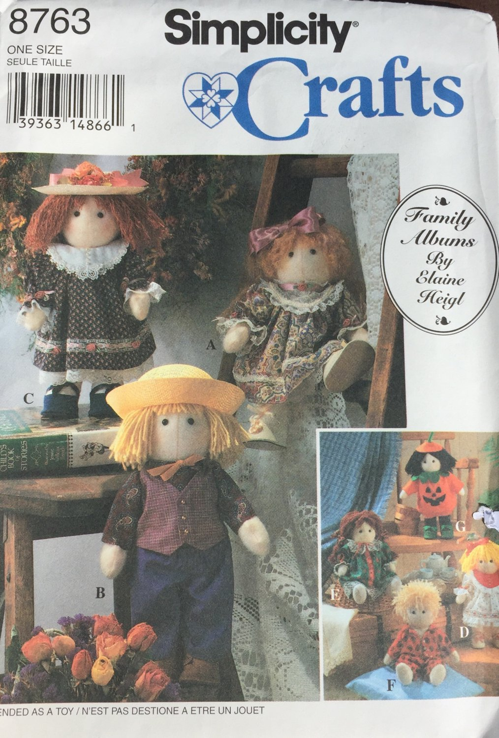 Doll and Clothes Sewing Pattern Family Albums by Elaine Heigl  UNCUT Simplicity 8763