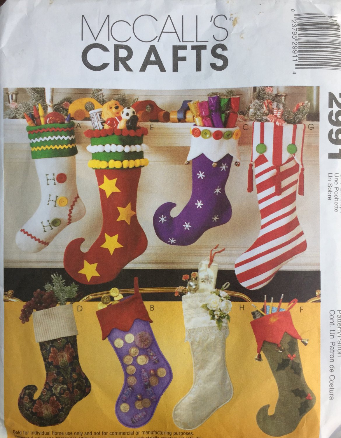 Christmas Stocking Sewing Pattern McCall´s Crafts 2991