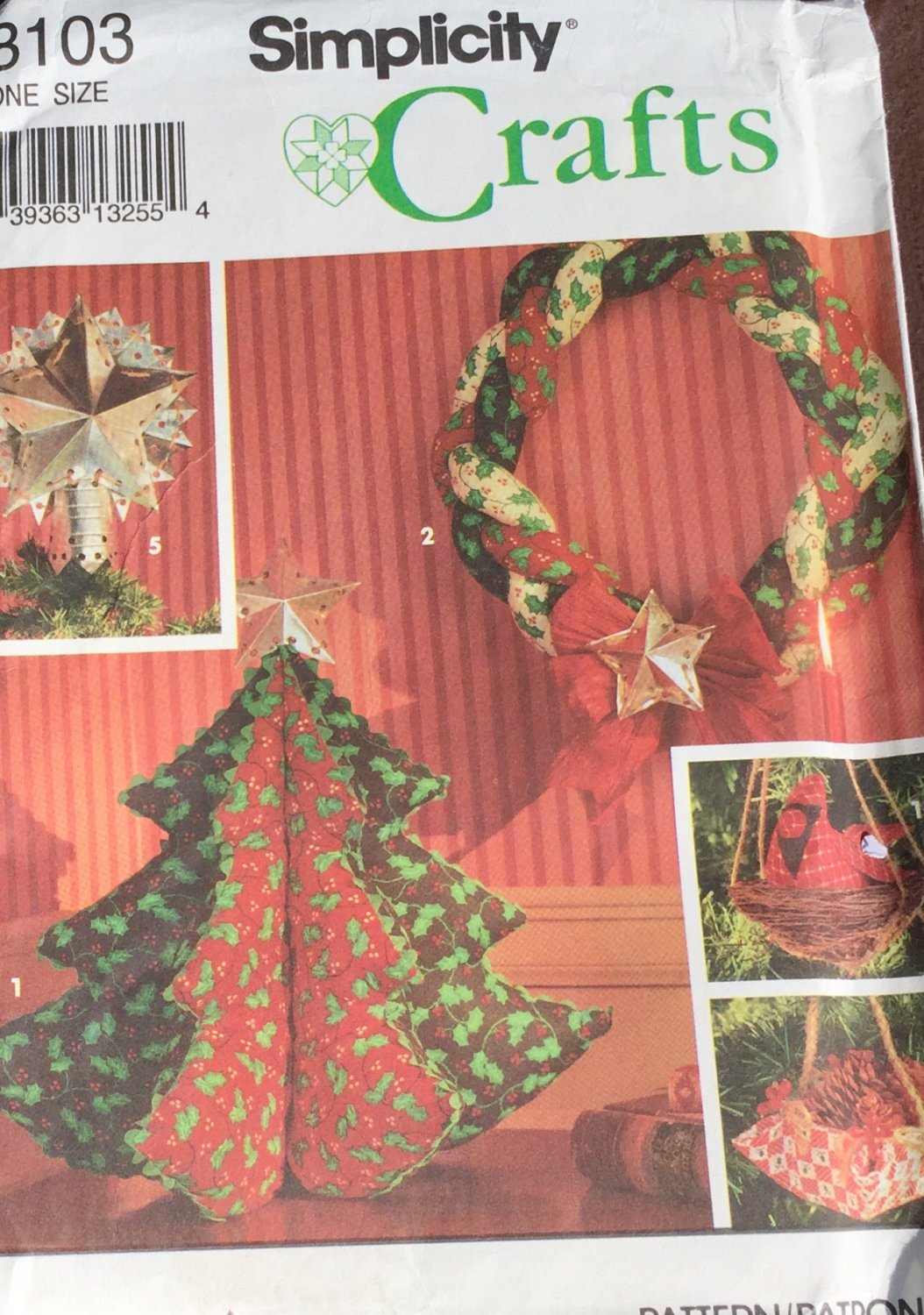 Christmas Holiday Tree Skirt Tree Top Star Ornaments Simplicity 8103 Sewing Pattern