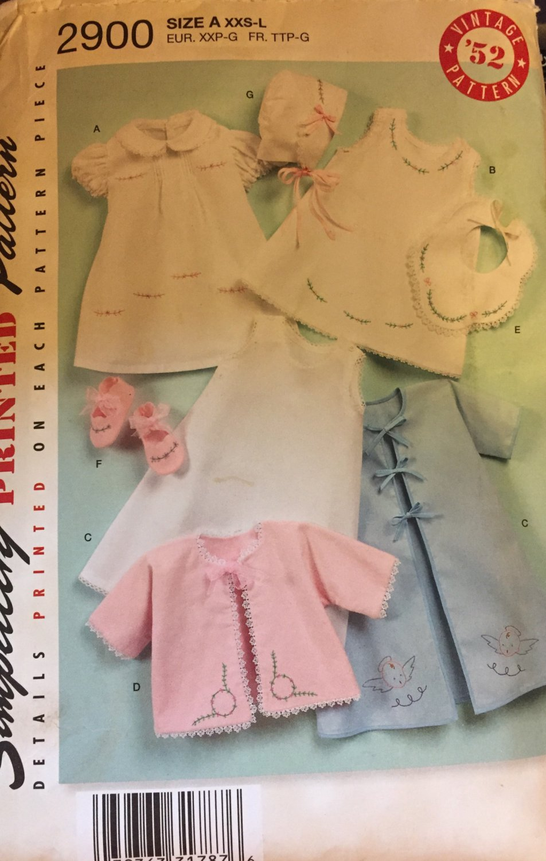 Baby Layette Simplicity 2900 Vintage Style Pattern  (XXS-L) UNCUT