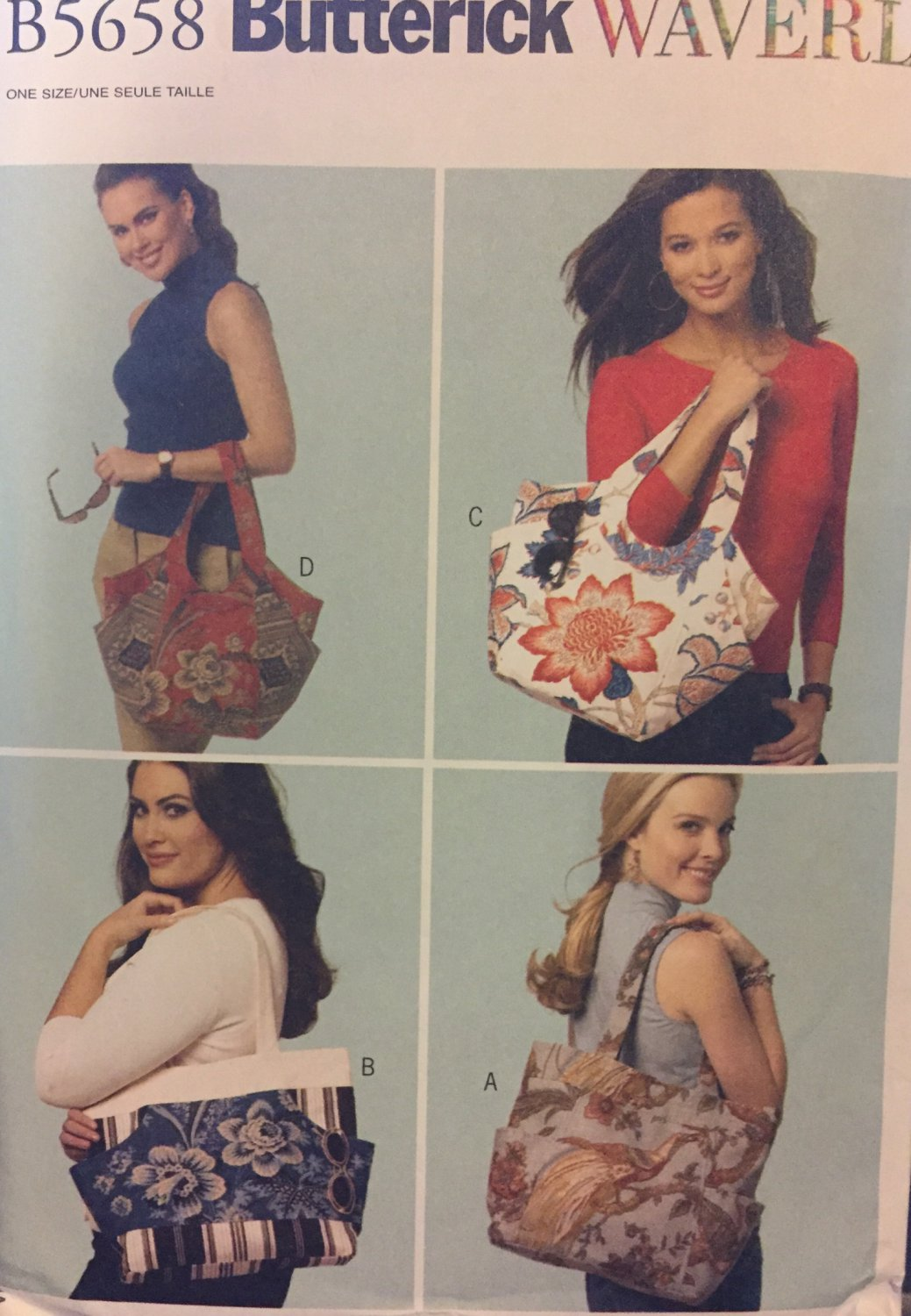 Sewing Pattern for Geometric Tote Bags Waverly Design Butterick Pattern B5658,