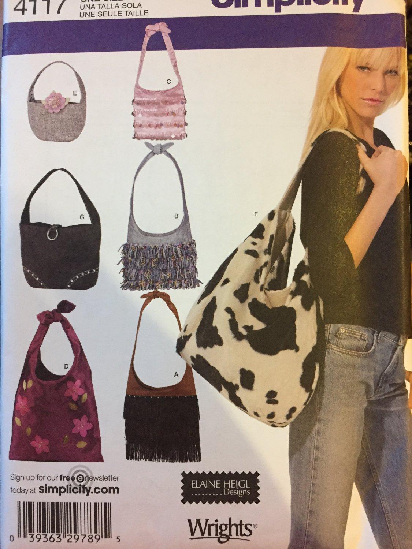 Shoulder Bag Tote Bag Sewing Pattern 7 Designs Simplicity 4117 uncut