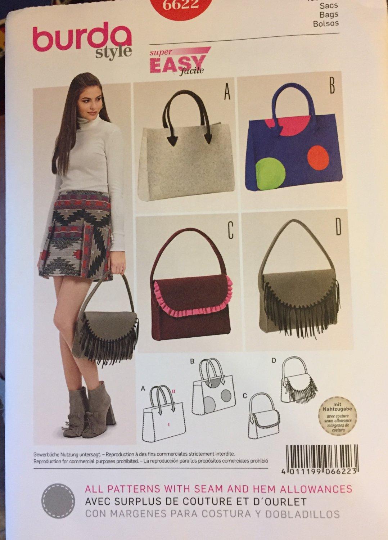 Burda 6622 Misses Totes Handbags with Fringe Embellishments Sewing Pattern