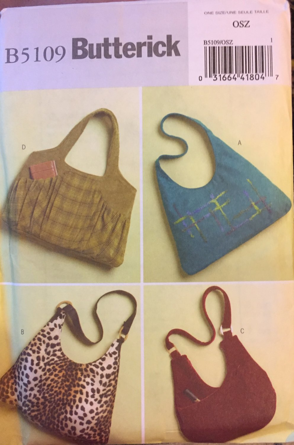 Hand Bag Sewing Pattern Hobo Slouch Purse Tote Bag Butterick 5109