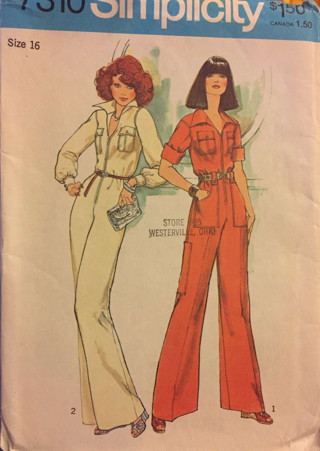 SOLD OUT! Simplicity 7310 Misses Jumpsuit 1975 sewing pattern size 16