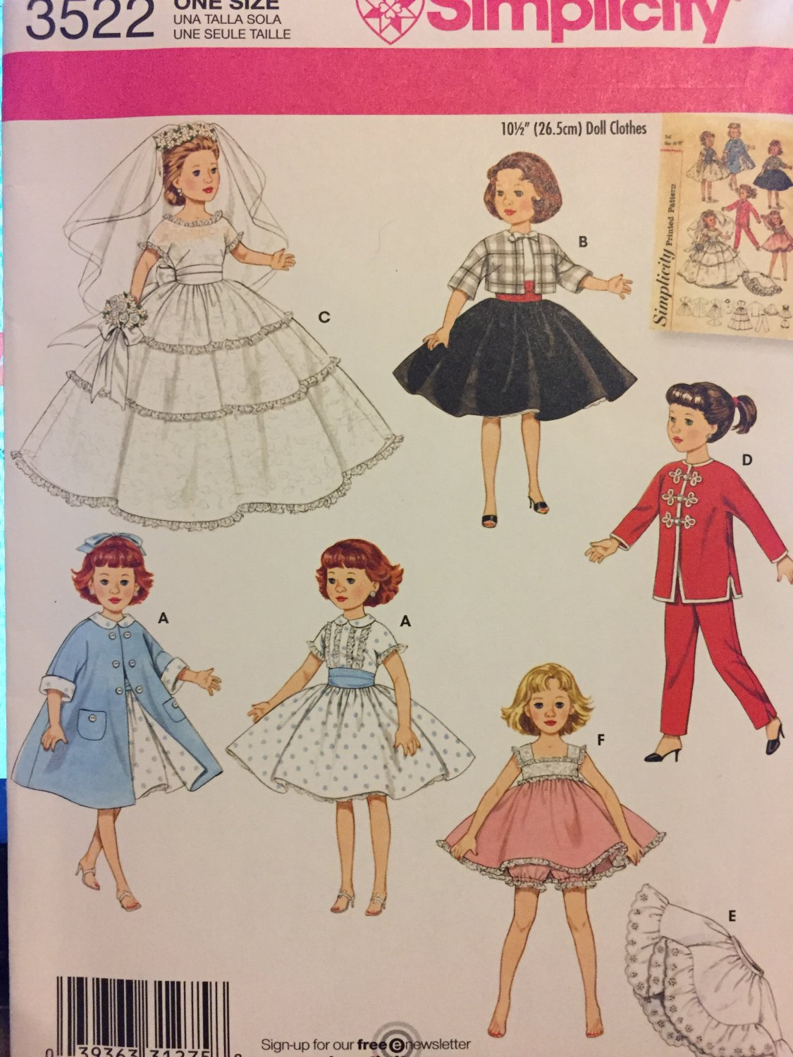 "Simplicity Size 10 1/2"" Doll Vintage Style doll clothes craft pattern 3522 Uncut"