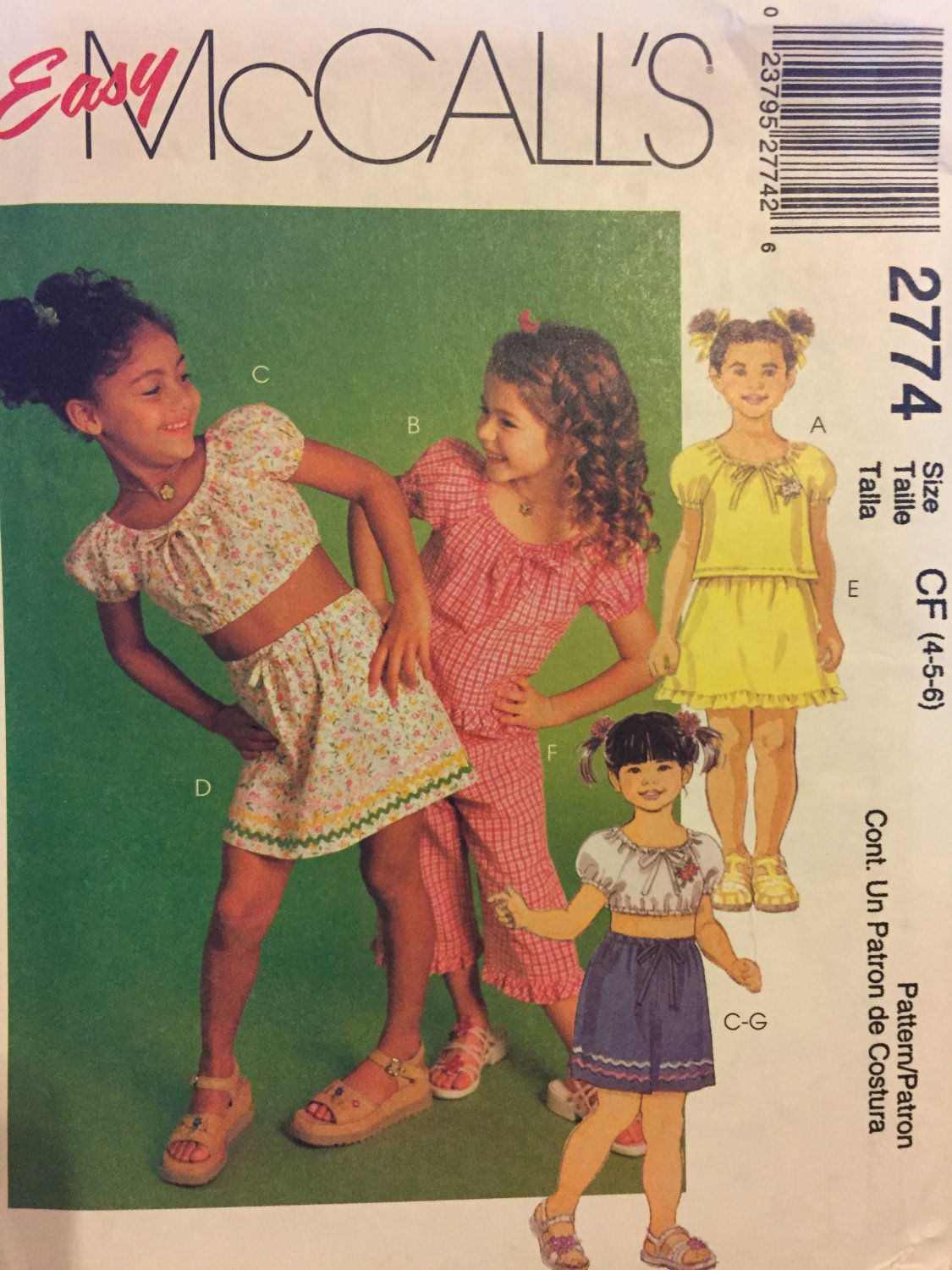 McCall's 2774 Size 4 5 6 Children's Top Skirt Capri Pants Shorts Sewing Pattern