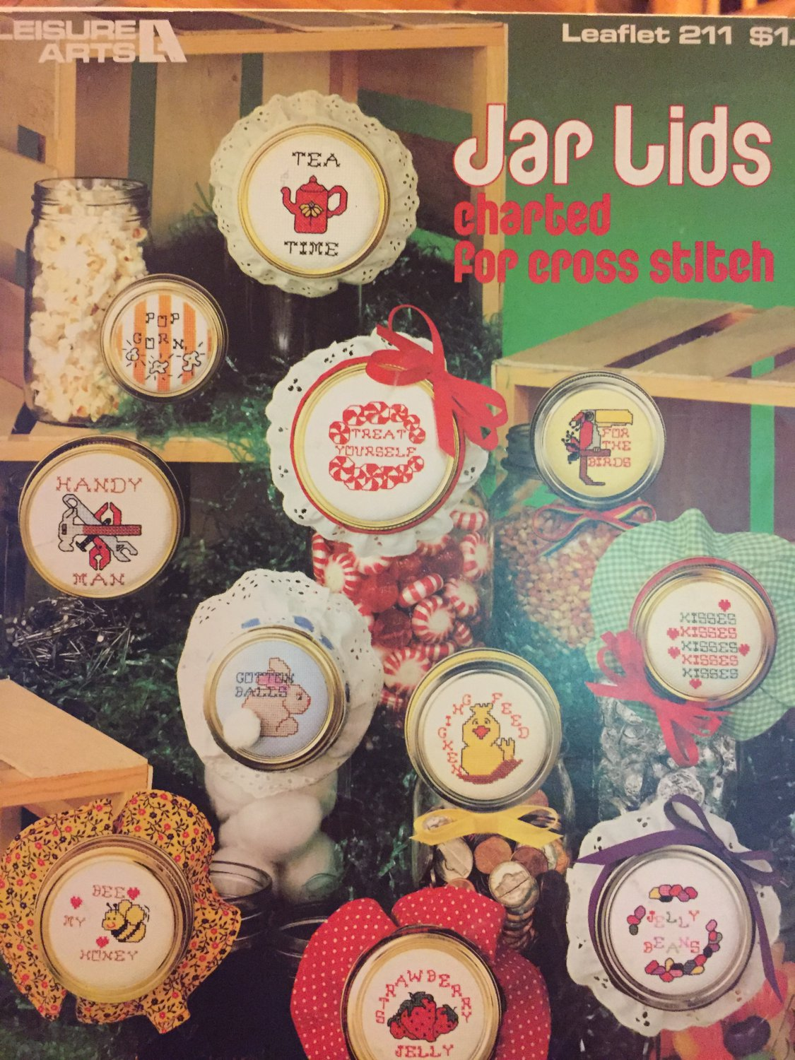 Leisure Arts leaflet 211 Jar Lids for counted cross stitch