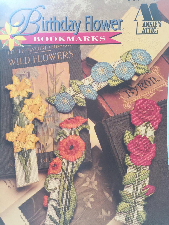 ANNIE'S ATTIC BIRTHDAY FLOWER BOOKMARKS 12 PLASTIC CANVAS DESIGNS 87B79
