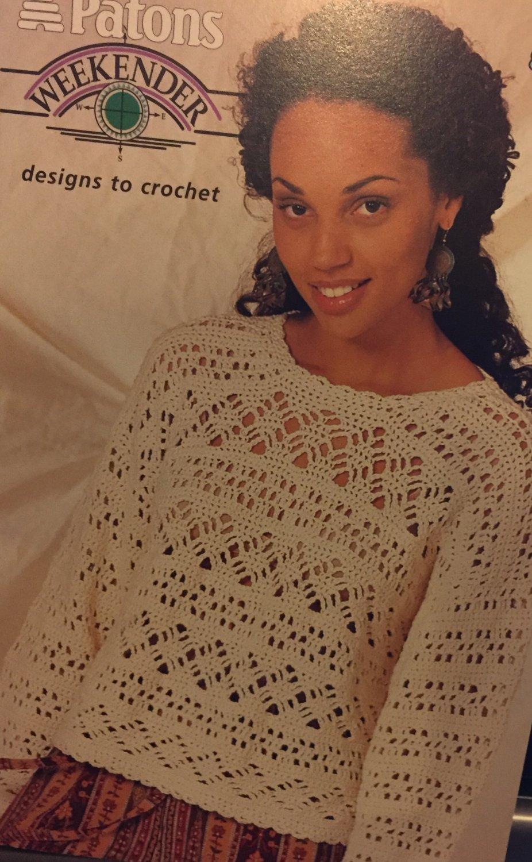 Patons Weekender Lacy tops Crochet Pattern booklet 720 lace sweaters in cotton yarn