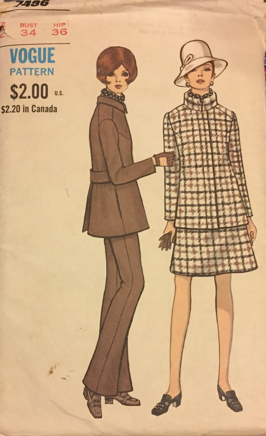 Vogue Special Design 7496 Standing Collar Jacket Skirt Pants Trousers Sewing Pattern Size 12