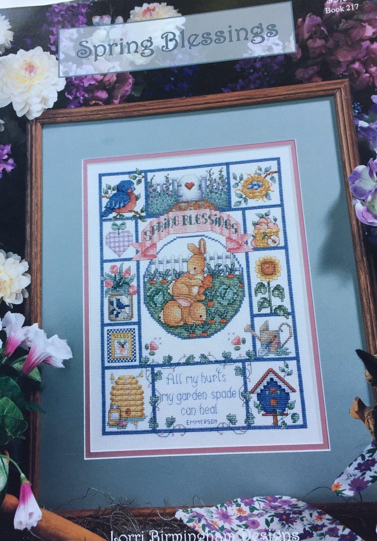 Spring Blessings cross stitch sampler chart Lorri Birmingham Designs book 217