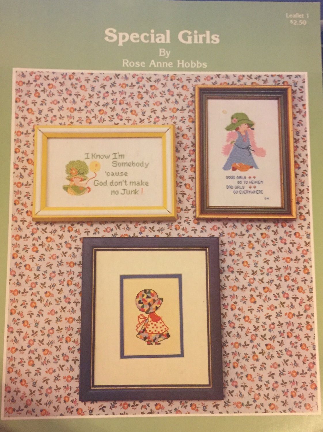 Special Girls Cross Stitch Charts Rose ANne Hobbes Leaflet 1 I KNOW I´m Somebody