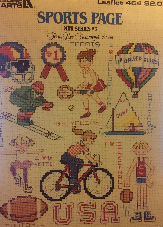 Leisure Arts 464 Sports Page Mini Series #7 Cross Stitch Charts Basketball Ski Surf Football