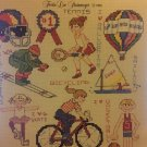 Leisure Arts 464 Sports Page Mini Series #7 Cross Stitch Charts Basketball Ski Surf Football