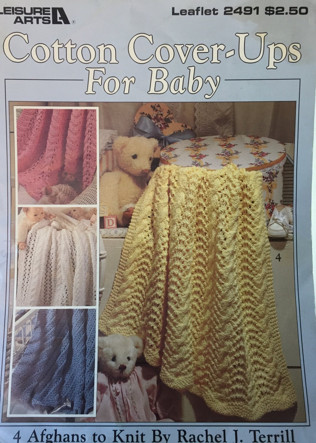 Cotton Cover-ups for Baby Afghan Knitting Pattern Cotton Yarn Leisure Arts 2491