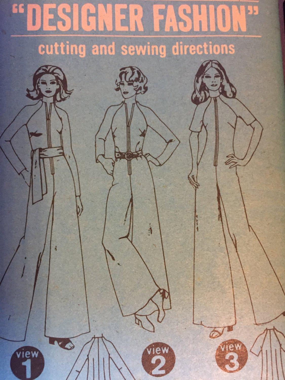 Simplicity 9369 Jumpsuit Trouser One piece Romper 1970s zip up palazzo Size 12
