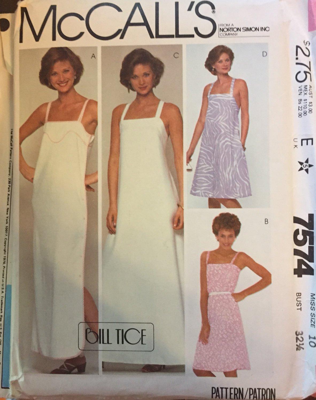 McCalls 7574 Sundress UNCUT Size 10 Sewing Pattern Designer Bill Tice