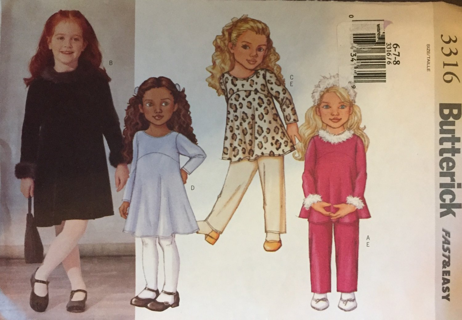 Butterick 3316 Girls' Top Dress and Pants Fast & Easy Sewing Pattern Size 6, 7, 8