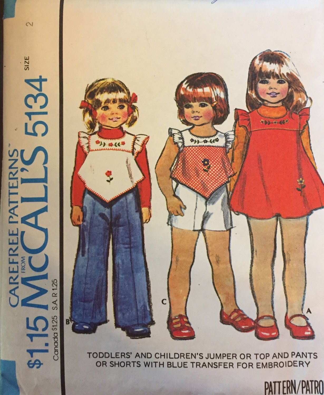 Vintage 70's Sewing Pattern McCalls 5134 Girl's Jumper Top Pants Shorts Uncut with Transfer SZ 2